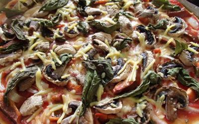 Pizza légumes et fromage végétal